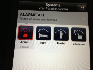 commande de l'alarme par iphone